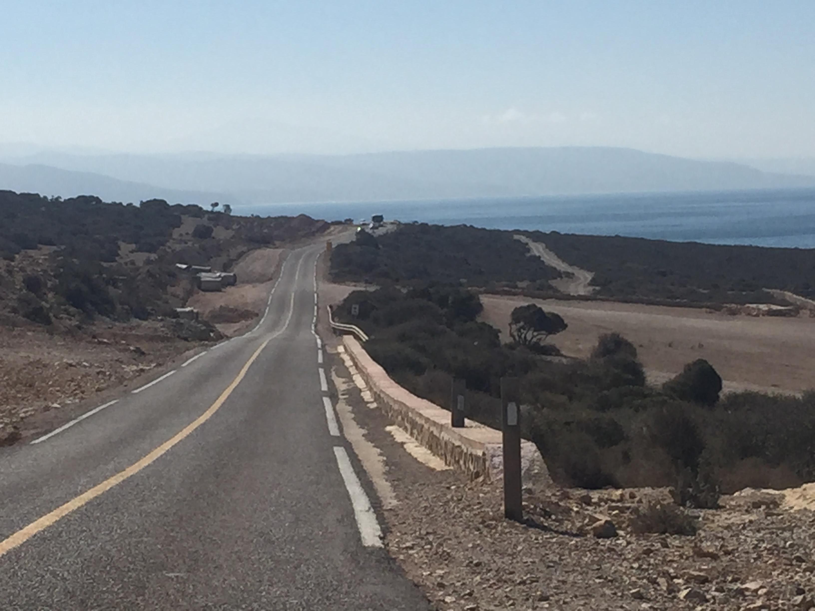 die bergige, steile Straße nach Agadir